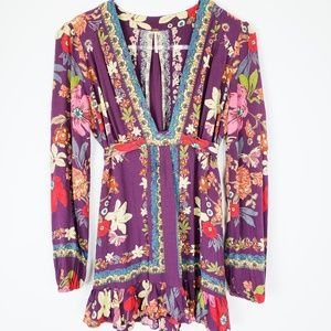 Free People Anthropologie purple floral shirt 4